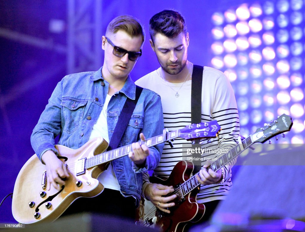 Liam Fray and Daniel 'Conan' Moores of The Courteeners perform on day 2 of the V Festival at Weston Park on August 18 2013 in Stafford England