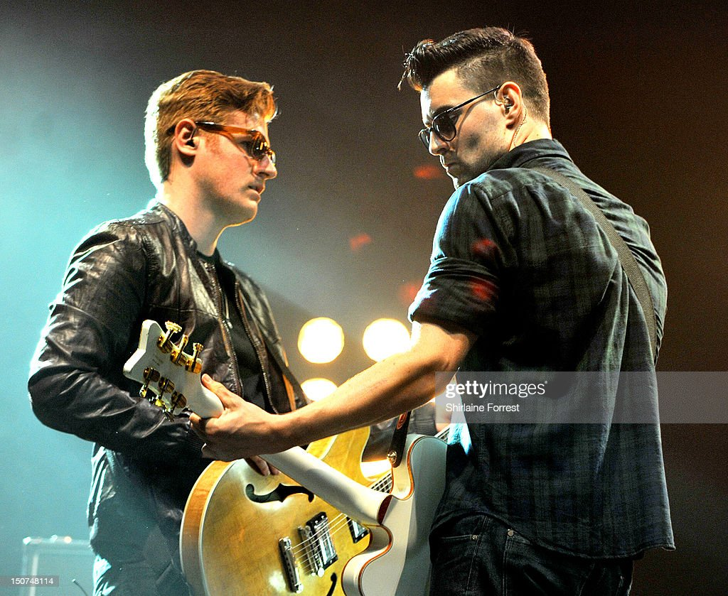 Liam Fray and Daniel 'Conan' Moores of The Courteeners perform on day two of Leeds Festival at Bramham Park on August 25 2012 in Leeds England