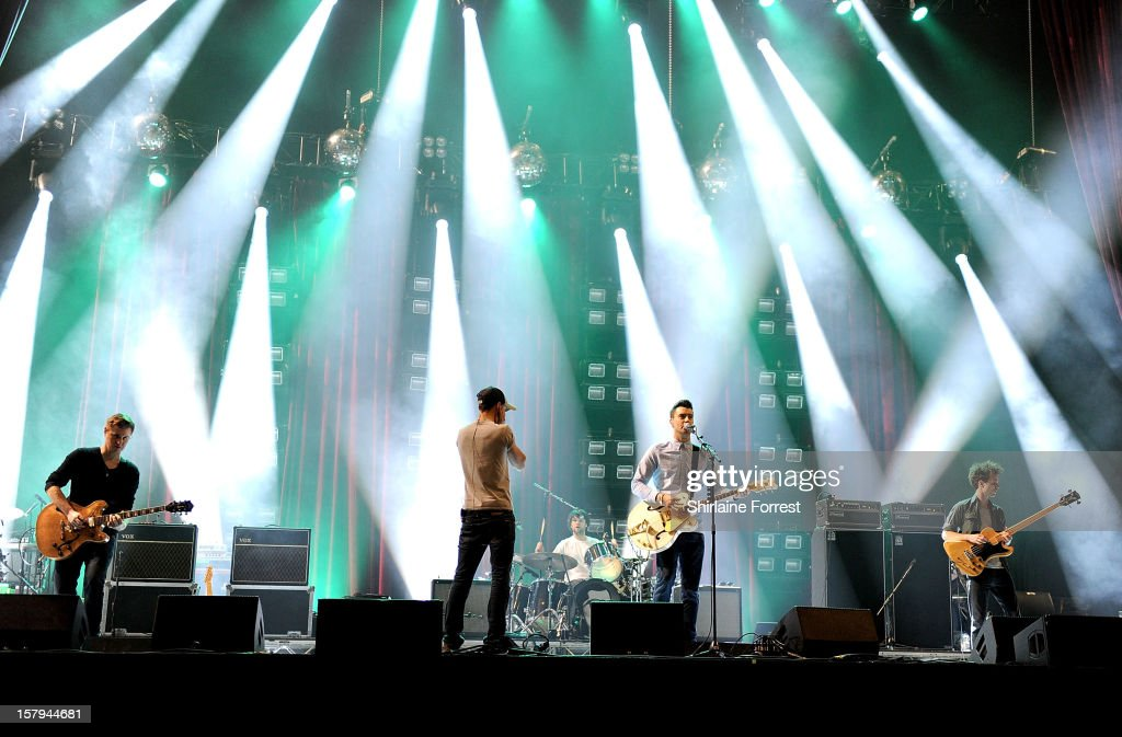 Liam Fray Daniel 'Conan' Moores Michael Campbell and Mark Cuppello of The Courteeners soundcheck before their homecoming show at Manchester Arena on...