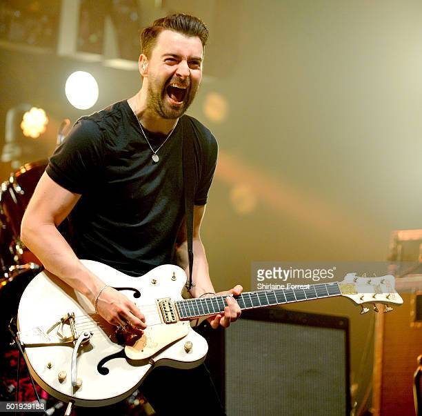 Liam Fray of The Courteeners performs during the sixth of seven consecutive sold out homecoming shows at O2 Apollo Manchester on December 18 2015 in...