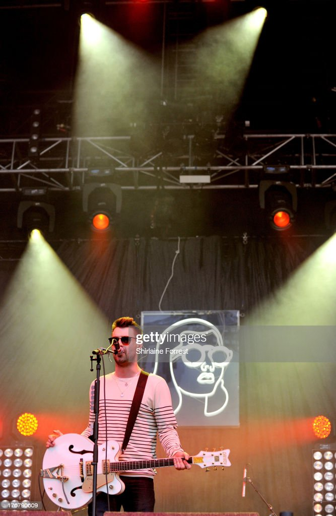Liam Fray of The Courteeners performs on day 2 of the V Festival at Weston Park on August 18 2013 in Stafford England
