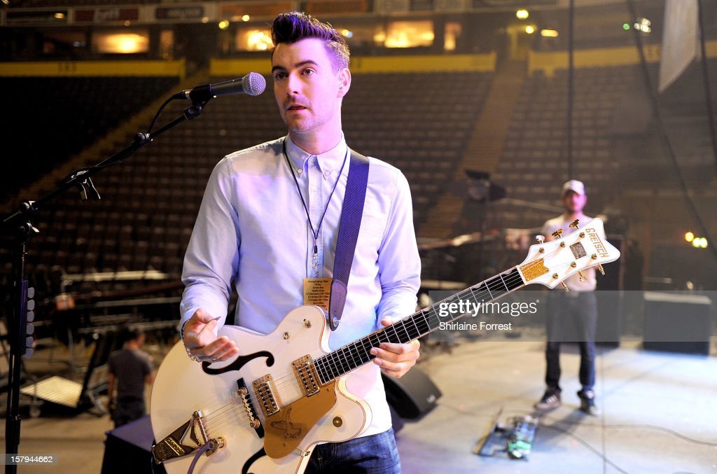 Liam Fray of The Courteeners soundchecks before their homecoming show at Manchester Arena on December 7 2012 in Manchester England