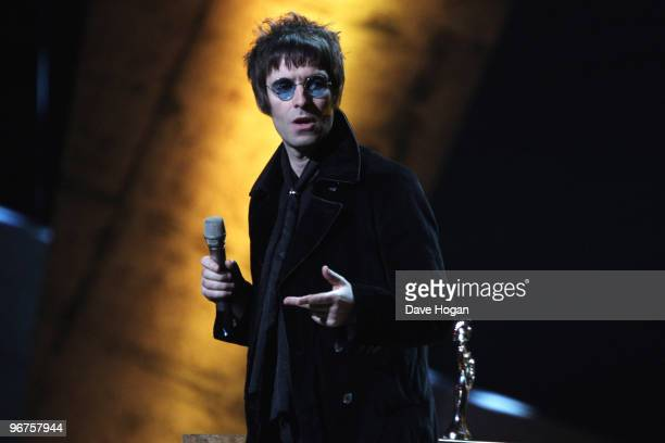 Liam Gallagher accepts the Brits album of 30 years award at The Brit Awards 2010 held at Earls Court on February 16 2010 in London England