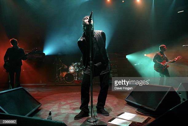 Liam Gallagher and Brother Noel of the band Oasis performing for the 'Teenage Cancer Trust' concert at Albert Hall in London England February 6 2002...