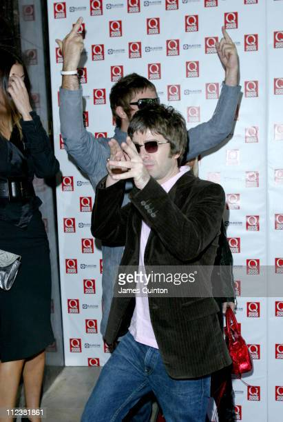 Liam Gallagher and Noel Gallagher during Q Awards 2005 at Grosvenor House in London Great Britain