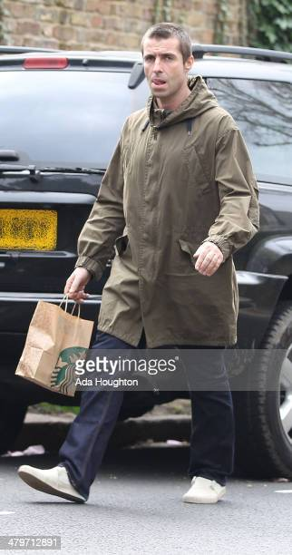 Liam Gallagher is seen on a morning coffee run in Hampstead on March 20 2014 in London England