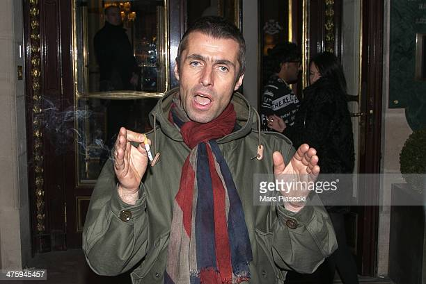 Liam Gallagher leaves the Meurice hotel on March 1 2014 in Paris France