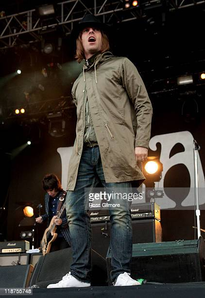Liam Gallagher of Beady Eye of performs on stage during the 3rd day of T In The Park Festival 2011 at Balado on July 10 2011 in Kinross United Kingdom