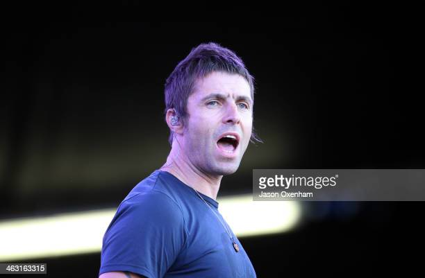 Liam Gallagher of Beady Eye performs live for fans during the 2014 Big Day Out Festival at Western Springs on January 17 2014 in Auckland New Zealand