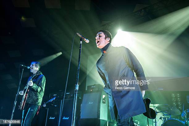 Liam Gallagher of Beady Eye performs on stage at Barrowlands Ballroom on November 10 2013 in Glasgow United Kingdom