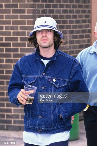 Liam Gallagher of Oasis at the Music Industry Chairty Soccer Six Match in 1996