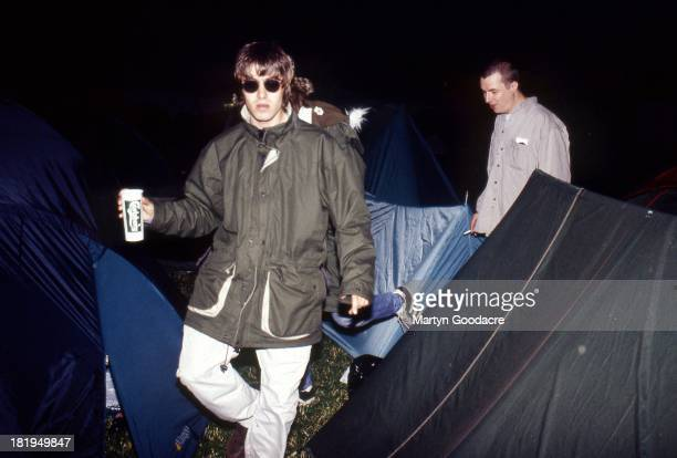Liam Gallagher of Oasis backstage with brother Paul Gallagher Glastonbury Festival 1995