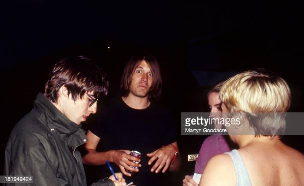 Liam Gallagher of Oasis backstage with Evan Dando Glastonbury Festival 1995