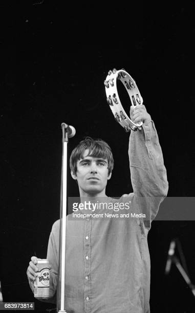 Liam Gallagher of Oasis on stage at Slane during their concert