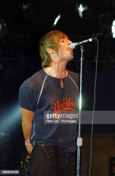 Liam Gallagher of Oasis performing in concert at Roseland in New York City USA Some band members were injured in Indianapolis Indiana USA when their...
