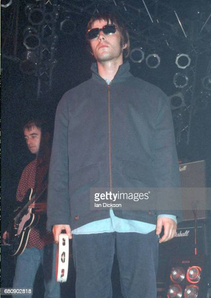 Liam Gallagher of Oasis performing on stage at The Forum Kentish Town London 16 August 1994