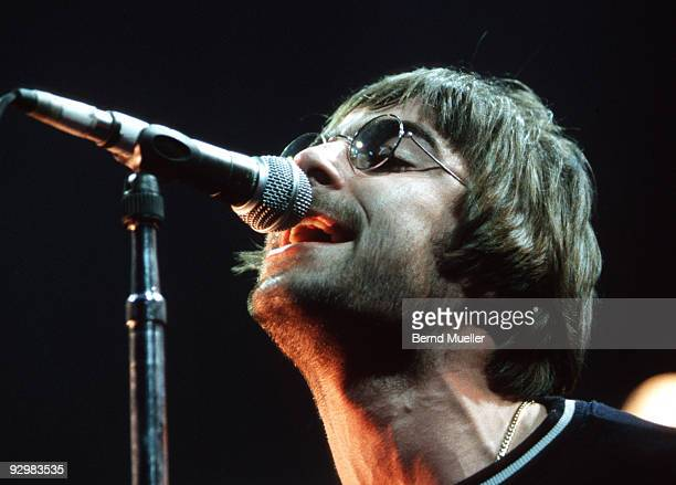 Liam Gallagher of Oasis performs on stage at Terminal 1 on March 27th 1996 in Munich Germany