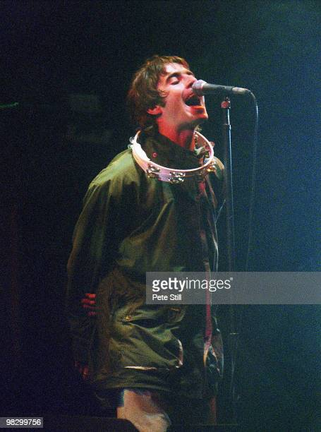 Liam Gallagher of Oasis performs on stage at the Glastonbury Festival on June 23th 1995 in Somerset England