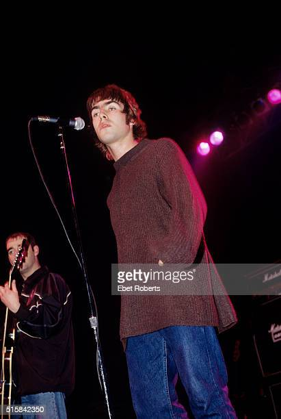 Liam Gallagher performing with Oasis at The Academy in New York City on March 8 1995
