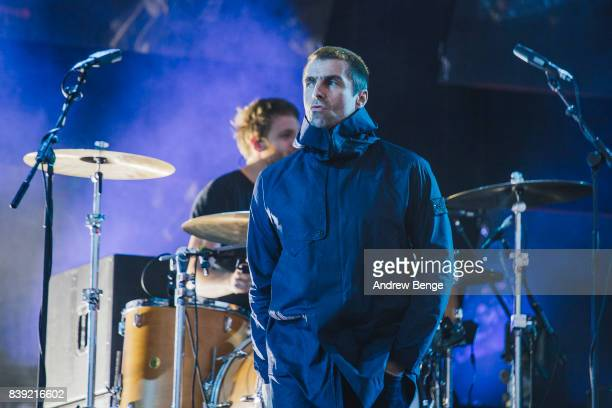 Liam Gallagher performs on the main stage during day 1 at Leeds Festival at Bramhall Park on August 25 2017 in Leeds England
