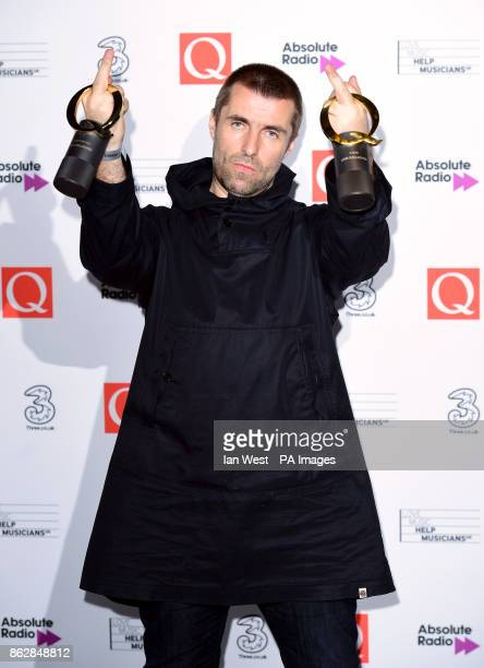 Liam Gallagher poses with his Best Live Act and Q Icon Awards during the Q Awards 2017 in association with Absolute Radio at the Camden Roundhouse...