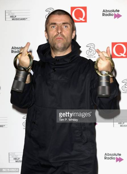 Liam Gallagher with the awards for Best Live Act and Q Icon during the Q Awards 2017 in association with Absolute Radio at The Roundhouse on October...