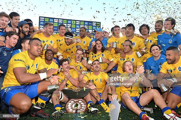 Liam Gill of Brisbane City and team mates celebrate victory after the 2015 NRC Final match between Brisbane City and the Canberra Vikings at...