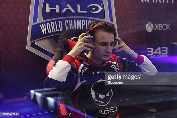 Liam Healy a professional videogame player also known as Barrage Godshot of team Infused competes against team Epsilon eSports during the semifinal...