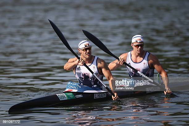 Liam Heath and Jon Schofield of Great Britain react after competing in the Men's Kayak Double 200m Heat 1 during Day 12 of the Rio 2016 Olympic Games...