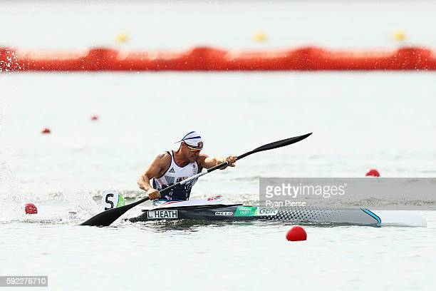Liam Heath of Great Britain competes on his way to winning the gold medal in the Men's Kayak Single 200m Finals on Day 15 of the Rio 2016 Olympic...