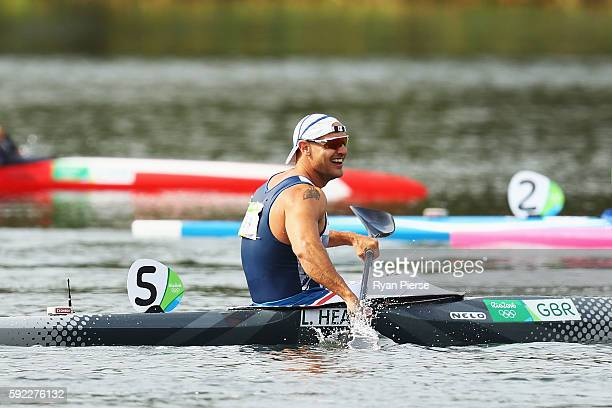 Liam Heath of Great Britain wins the gold medal in the Men's Kayak Single 200m Finals on Day 15 of the Rio 2016 Olympic Games at the Lagoa Stadium on...
