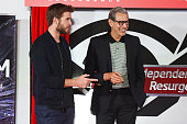Liam Hemsworth and Jeff Goldblum attend the unveiling ceremony of the 'Independence Day Resurgence' wrapped train on June 6 2016 in London United...