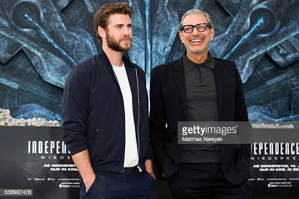 Liam Hemsworth and Jeff Goldblum during the 'Independence Day Resurgence' Berlin Photo Call on June 9 2016 in Berlin Germany