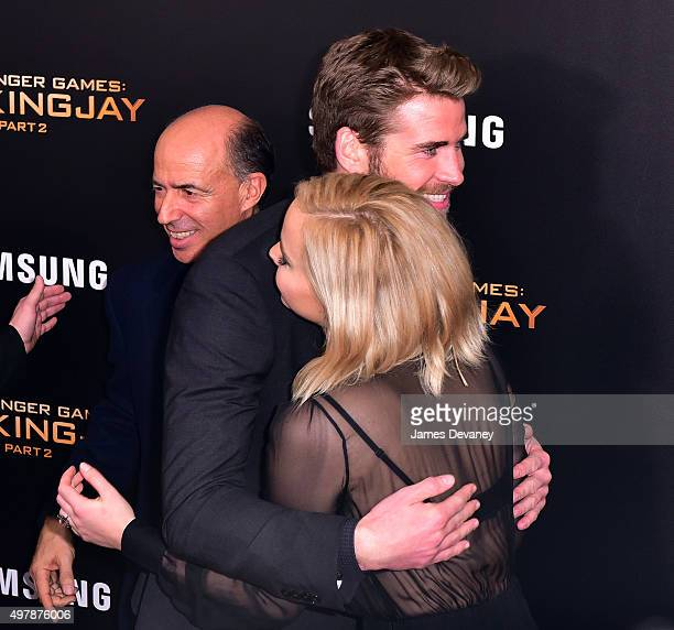 Liam Hemsworth and Jennifer Lawrence attend the 'The Hunger Games Mockingjay Part 2' New York premiere at AMC Loews Lincoln Square 13 theater on...