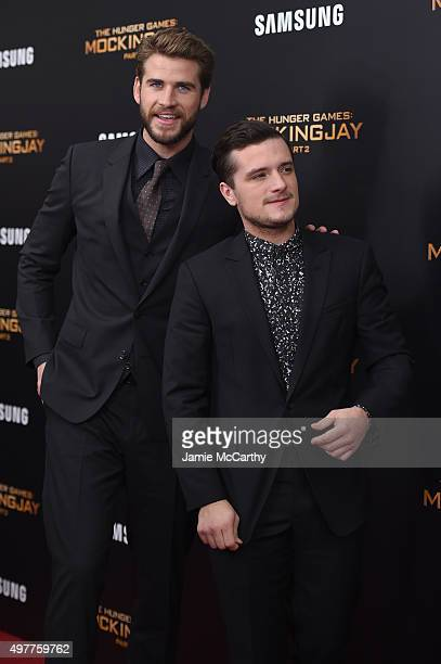 Liam Hemsworth and Josh Hutcherson attend 'The Hunger Games Mockingjay Part 2' New York Premiere at AMC Loews Lincoln Square 13 theater on November...