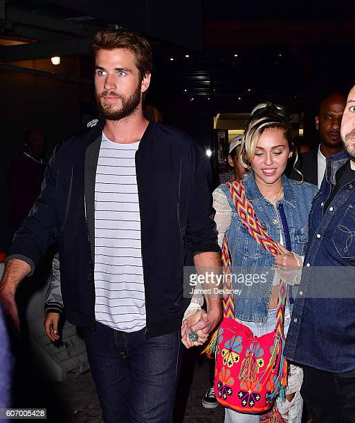 Liam Hemsworth and Miley Cyrus leave Catch on September 15 2016 in New York City