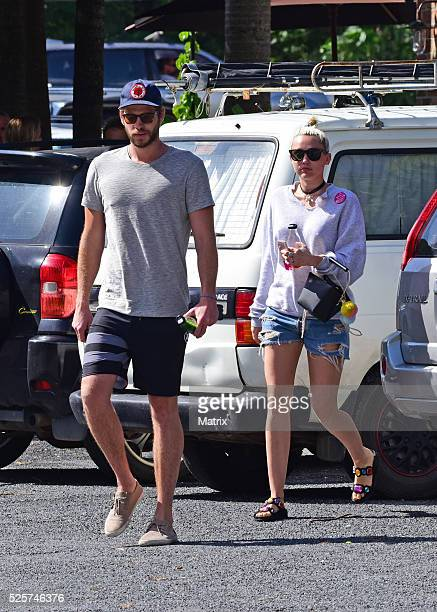 Liam Hemsworth and Miley Cyrus seen on April 29 2016 in Byron Bay Australia