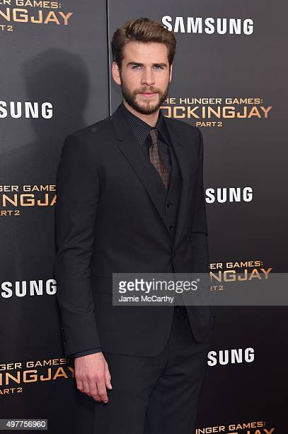 Liam Hemsworth attends 'The Hunger Games Mockingjay Part 2' New York Premiere at AMC Loews Lincoln Square 13 theater on November 18 2015 in New York...