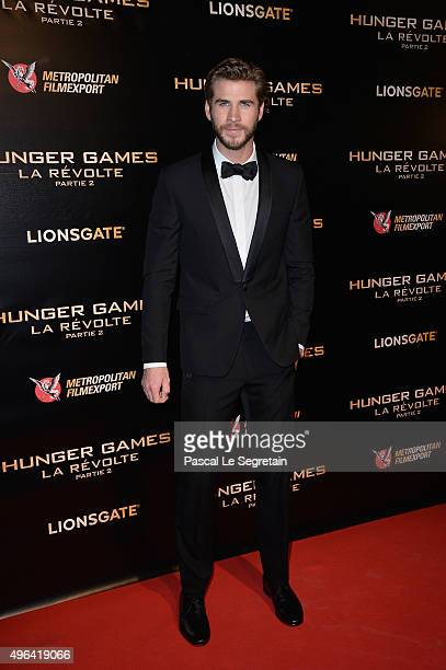 Liam Hemsworth attends The Hunger Games Mockingjay Part 2 Premiere at Le Grand Rex on November 9 2015 in Paris France