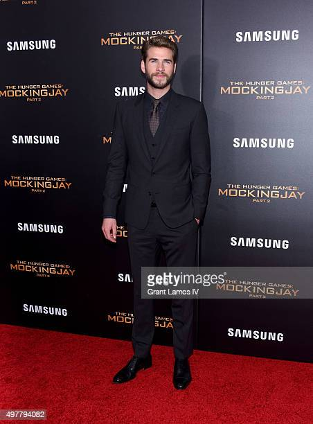 Liam Hemsworth attends 'The Hunger Games Mockingjay Part 2' premiere at AMC Loews Lincoln Square 13 theater on November 18 2015 in New York City