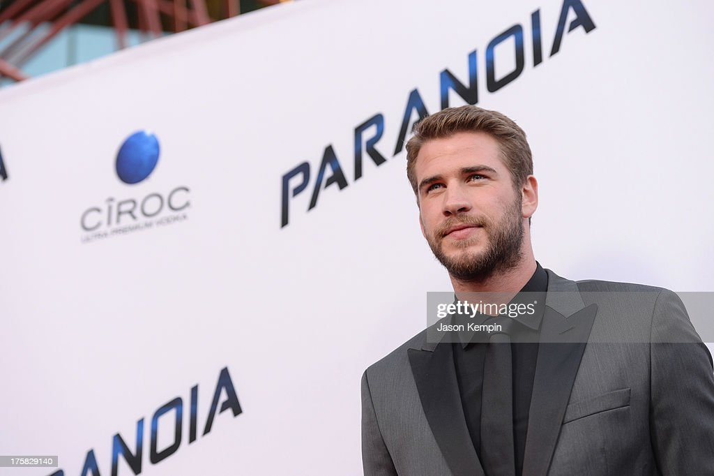 <a gi-track='captionPersonalityLinkClicked' href=/galleries/search?phrase=Liam+Hemsworth&family=editorial&specificpeople=6338547 ng-click='$event.stopPropagation()'>Liam Hemsworth</a> attends the premiere of Relativity Media's 'Paranoia' at DGA Theater on August 8, 2013 in Los Angeles, California.