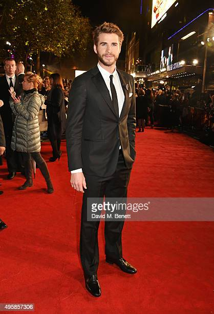 Liam Hemsworth attends the UK Premiere of 'The Hunger Games Mockingjay Part 2' at Odeon Leicester Square on November 5 2015 in London England