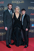 Liam Hemsworth Jennifer Lawrence and John Hutcherson attends 'The Hunger Games Mockingjay Part 2' premiere at Kinepolis cinema on November 10 2015 in...