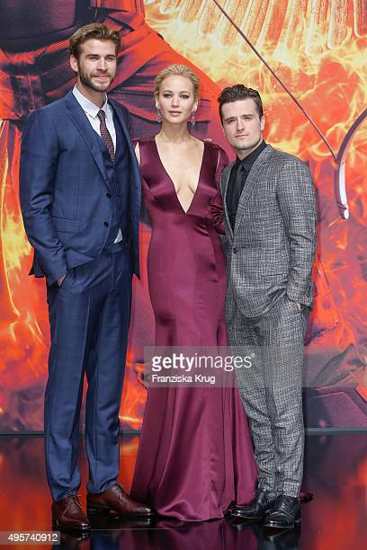 Liam Hemsworth Jennifer Lawrence and Josh Hutcherson attend 'The Hunger Games Mockingjay Part 2' world premiere on November 04 2015 in Berlin Germany