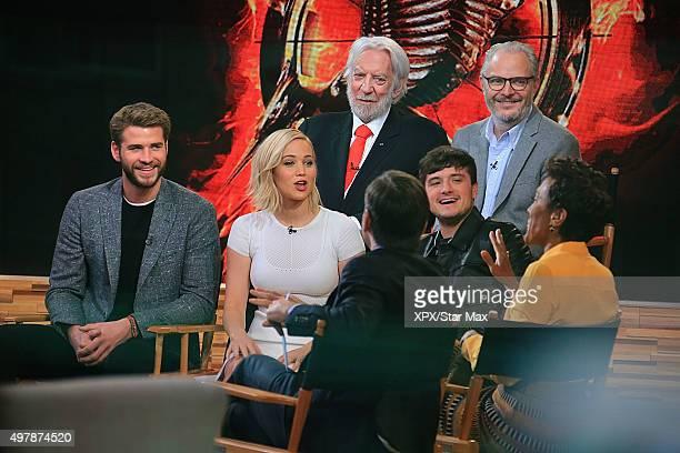 Liam Hemsworth Jennifer Lawrence Donald Sutherland and Josh Hutcherson are seen on November 18 2015 in New York City