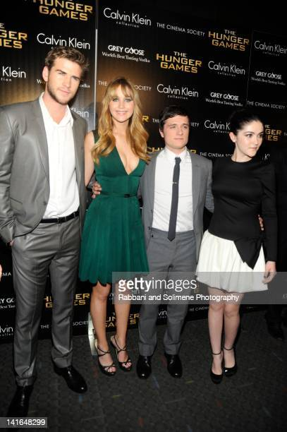 Liam Hemsworth Jennifer Lawrence Josh Hutchenson and Isabelle Fuhrman attends the Cinema Society Calvin Klein Collection screening of 'The Hunger...