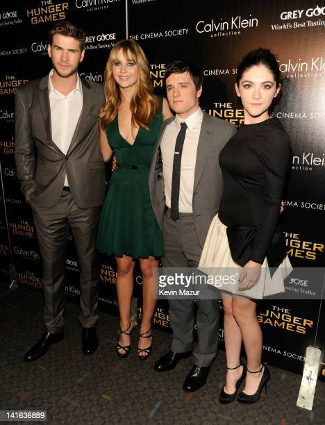 Liam Hemsworth Jennifer Lawrence Josh Hutcherson and Isabelle Fuhrman attend the Cinema Society Calvin Klein Collection screening of 'The Hunger...