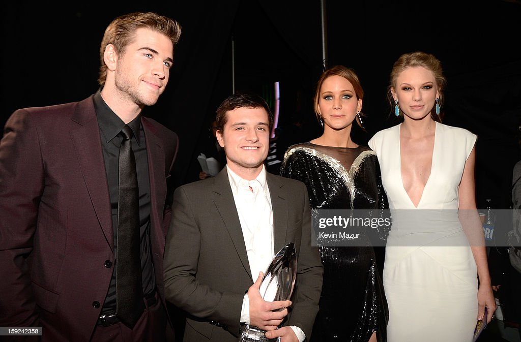 Liam Hemsworth, Josh Hutchinson, Jennifer Lawrence and Taylor Swift backstage during 2013 People's Choice Awards at Nokia Theatre L.A. Live on January 9, 2013 in Los Angeles, California.