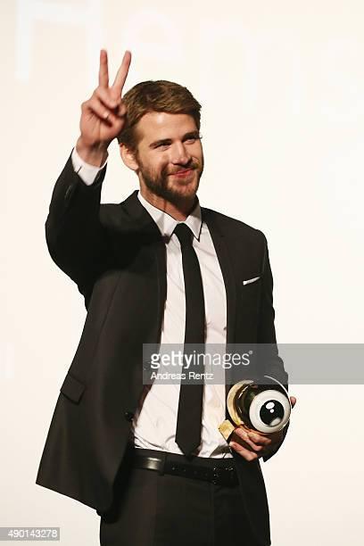 Liam Hemsworth receives the Golden Eye Award prior to The Dressmaker Premiere during the Zurich Film Festival on September 26 2015 in Zurich...