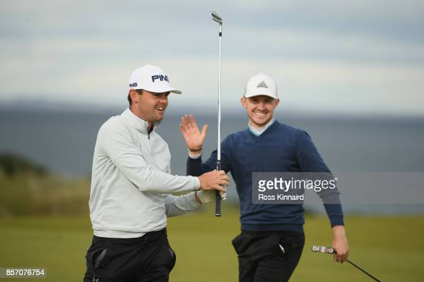 Liam Johnston and Connor Syme of Scotland during practice prior to the 2017 Alfred Dunhill Links Championship at Kingsbarns on October 3 2017 in St...